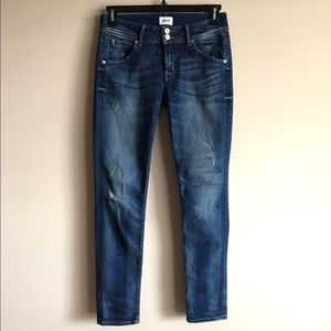 HUDSON Collin Mid Rise Skinny Flap Pocket Jeans